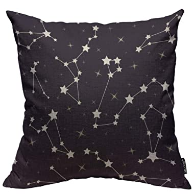 Mugod Stars Throw Pillow Cover Beautiful Cosmic Space Astronomy with Star and Constellations on Night Starry Sky Home Decorative Square Pillow Case for Bedroom Living Room Cushion Cover 18x18 Inch