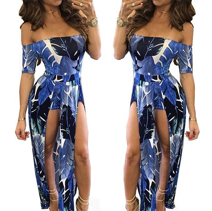 6d27d2bd4bc2 Women Floral Off Shoulder Beach High Low Split Maxi Romper Jumpsuit Maxi  Dress Blue S