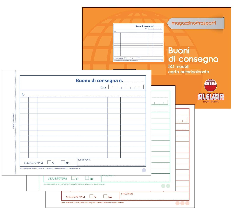 Blocchi Buoni Di Consegna 3 Copie 50 Moduli Formato cm 17x12 Conf. da 10 Blocchi Alevar 3762/3