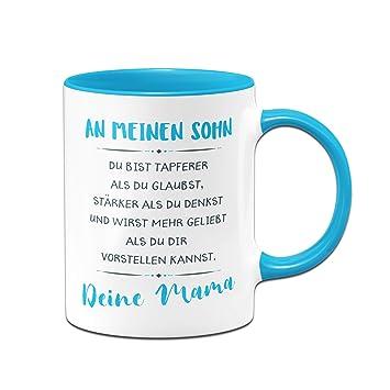 Tassenbrennerei Tasse Mit Spruch An Meinen Sohn Von Mama Geschenk Für Sohn Tassen Mit Sprüchen Blau