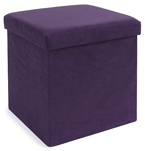FHE Group Microsuede Folding Storage Ottoman, 15 By 15 By 15 Inches, Purple