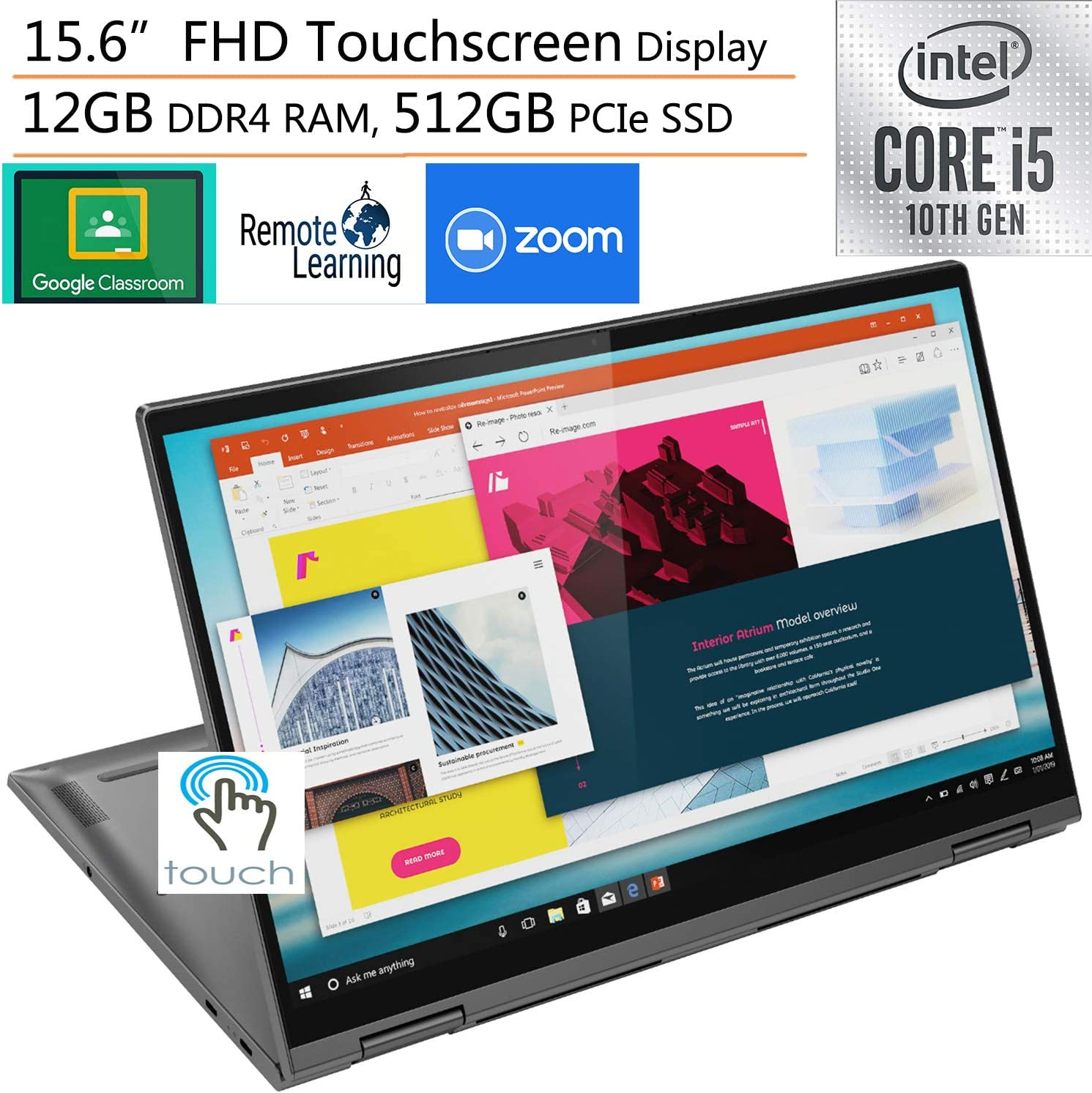 "2020 Lenovo Yoga C740 2-in-1 15.6"" FHD Touchscreen Laptop Computer, Intel Quad-Core i5-10210U (Beats i7-7500U), 12GB DDR4 RAM, 512GB PCIe SSD, Windows 10, iPuzzle External DVD, Online Class Ready"