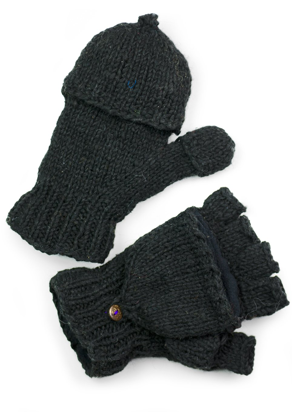 TCG Women's Hand Knit Wool Glittens - Black