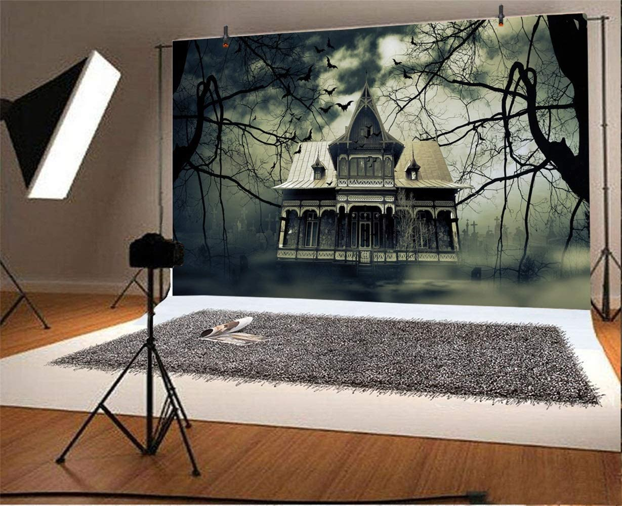 10x6.5ft Halloween Theme Backdrop Polyester Foggy Ghastly Cemetery Deserted Haunted Villa Gloomy Cloudy Sky Decayed Trees Photo Backgroud Child Baby Portrait Shoot Trick Or Treat Party Banner