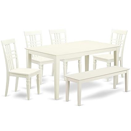 Fine Amazon Com East West Furniture Calg6 Lwh W Capri Set Linen Squirreltailoven Fun Painted Chair Ideas Images Squirreltailovenorg