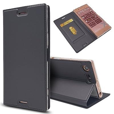 (For Sony Xperia XZ Premium) Flip Wallet Case Cover and 360 Degree Full Body Protective Bumper Cover, Premium Closed Material - Dark Grey