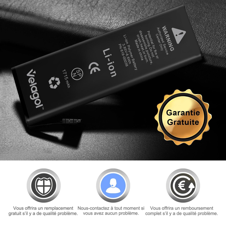 Velagol Batterie Interne Pour iPhone 6S Batterie 1715mAh Batterie en Lithium-Ion Rechargeable de Remplacement Pour iPhone 6S avec Kit d\'outils Carte de Garantie inclus (pas pour iPhone 6)
