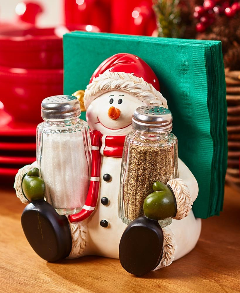 The Lakeside Collection 2-in-1 Holiday Salt/Pepper Napkin Holder - Snowman