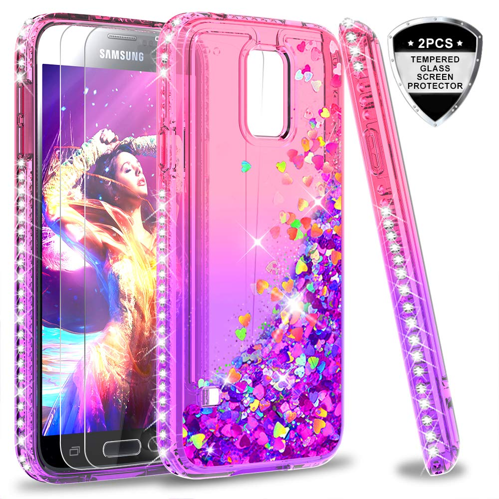 b0abfb00d6b Galaxy S5 Case, S5 Glitter Case with Tempered Glass Screen Protector [2 Pack]  for Girls Women, LeYi Bling Sparkle Diamond Liquid Quicksand Flowing Cute  ...
