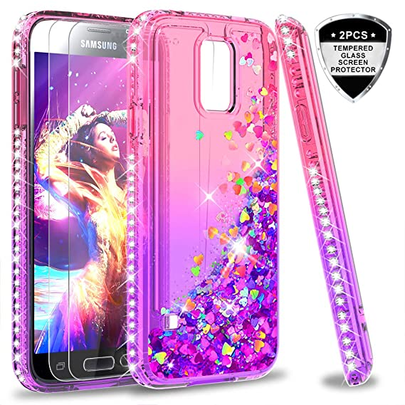 on sale 7fe38 c88d5 Galaxy S5 Case, S5 Glitter Case with Tempered Glass Screen Protector [2  Pack] for Girls Women, LeYi Bling Sparkle Diamond Liquid Quicksand Flowing  ...