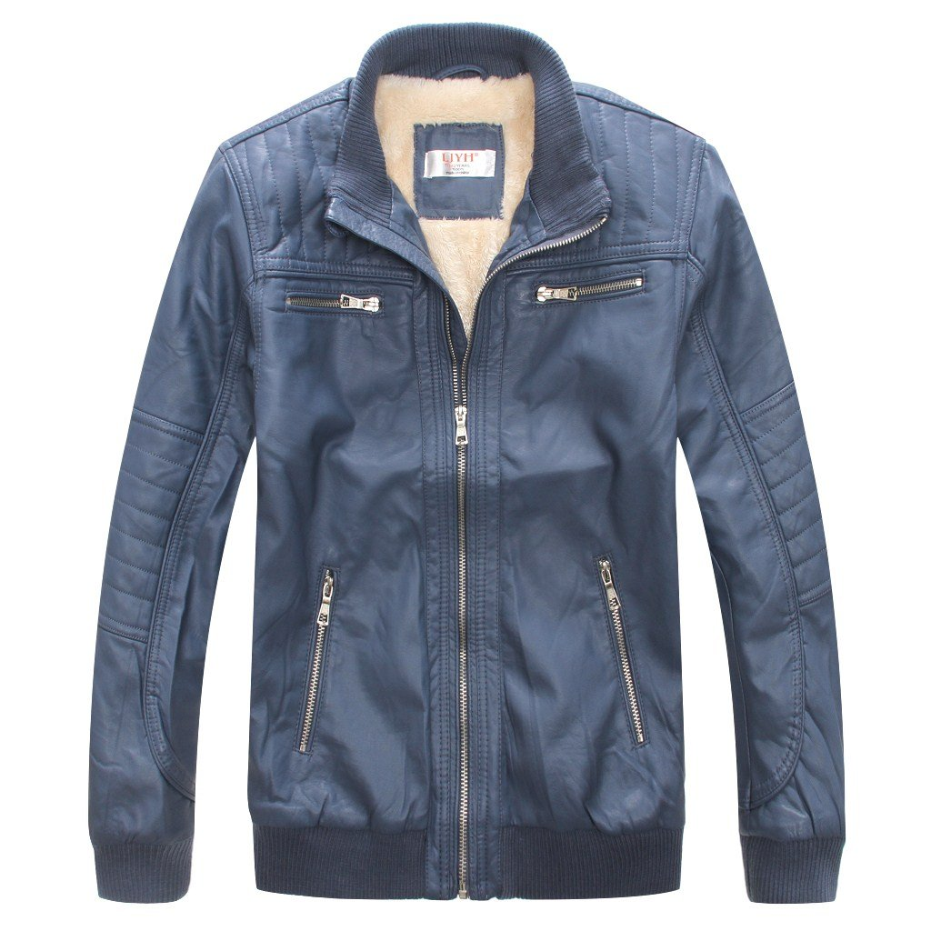 LJYH Boy's Trendy Stand-Collar PU Leather Spring Moto Jacket Blue