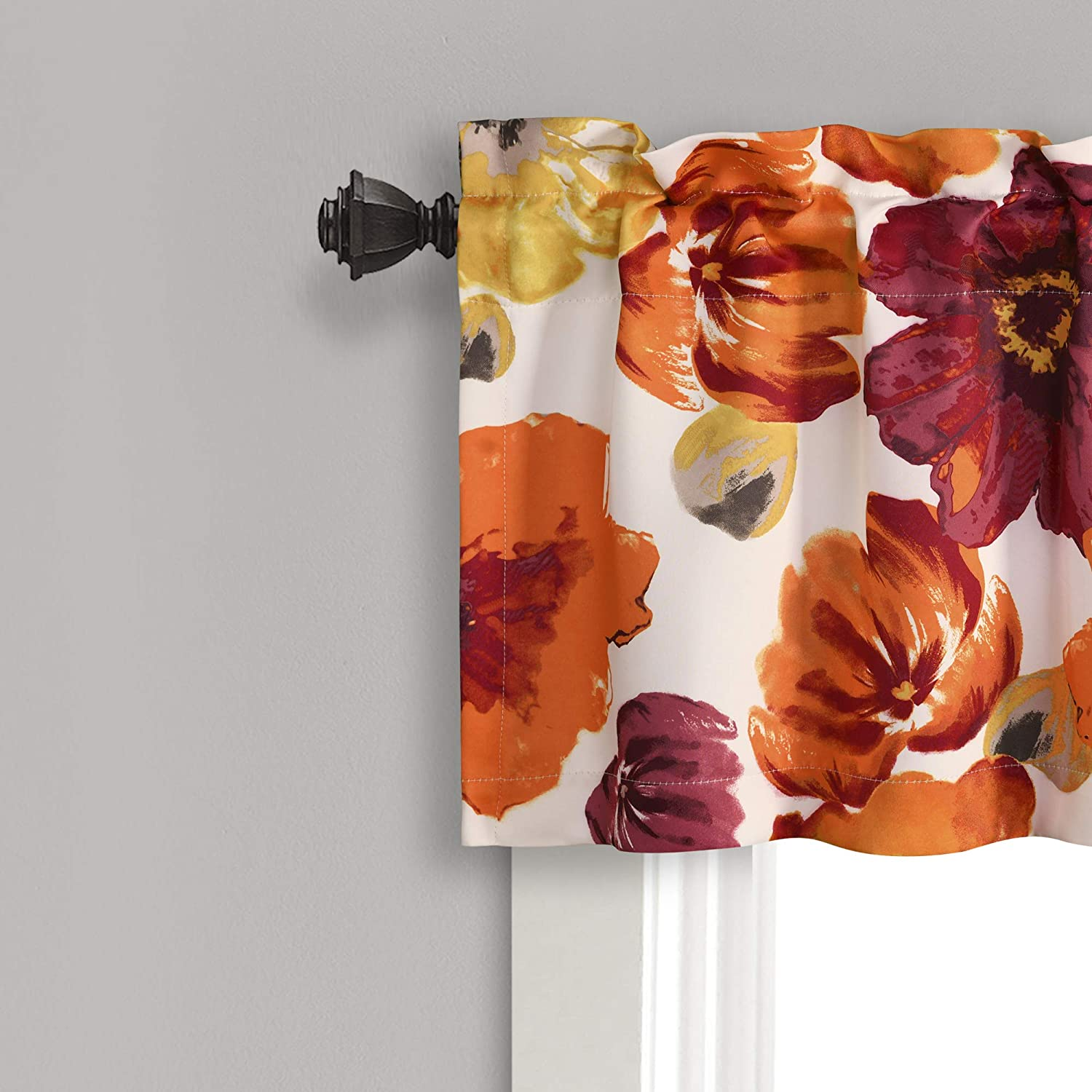 Red and Orange Lush Decor Window Curtain Valance Leah Floral Insulated Grommet 18 L