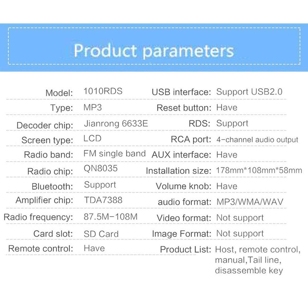 Elviray Car Audio 1010RDS Lettore MP3 Car Audio Stereo RDS//FM//AUX//ISO Ingresso Subwoof Sound Riproduzione Auto Autoradio