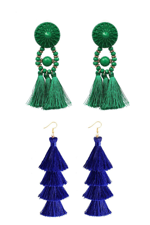 Q&S Jewels Fashion Handmade Bohemian Statement Emerald Green Tassel Earrings Chandelier Stud and Royal Blue Tiered Thread Tassel Drop Dangle Earring 2 Pairs