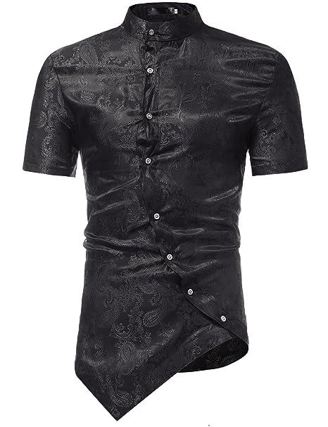 055d09d98 ZEROYAA Mens Hipster Embroidery Paisley Slim Fit Short Sleeve Shirts with Irregular  Hem Z80 Black Small