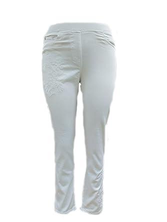 27bdd4c4293 Sugar Crisp Ladies Womens Straight Leg Jeans White Denim Floral Flower  Embroidered Trousers Elasticated Waist 29 quot