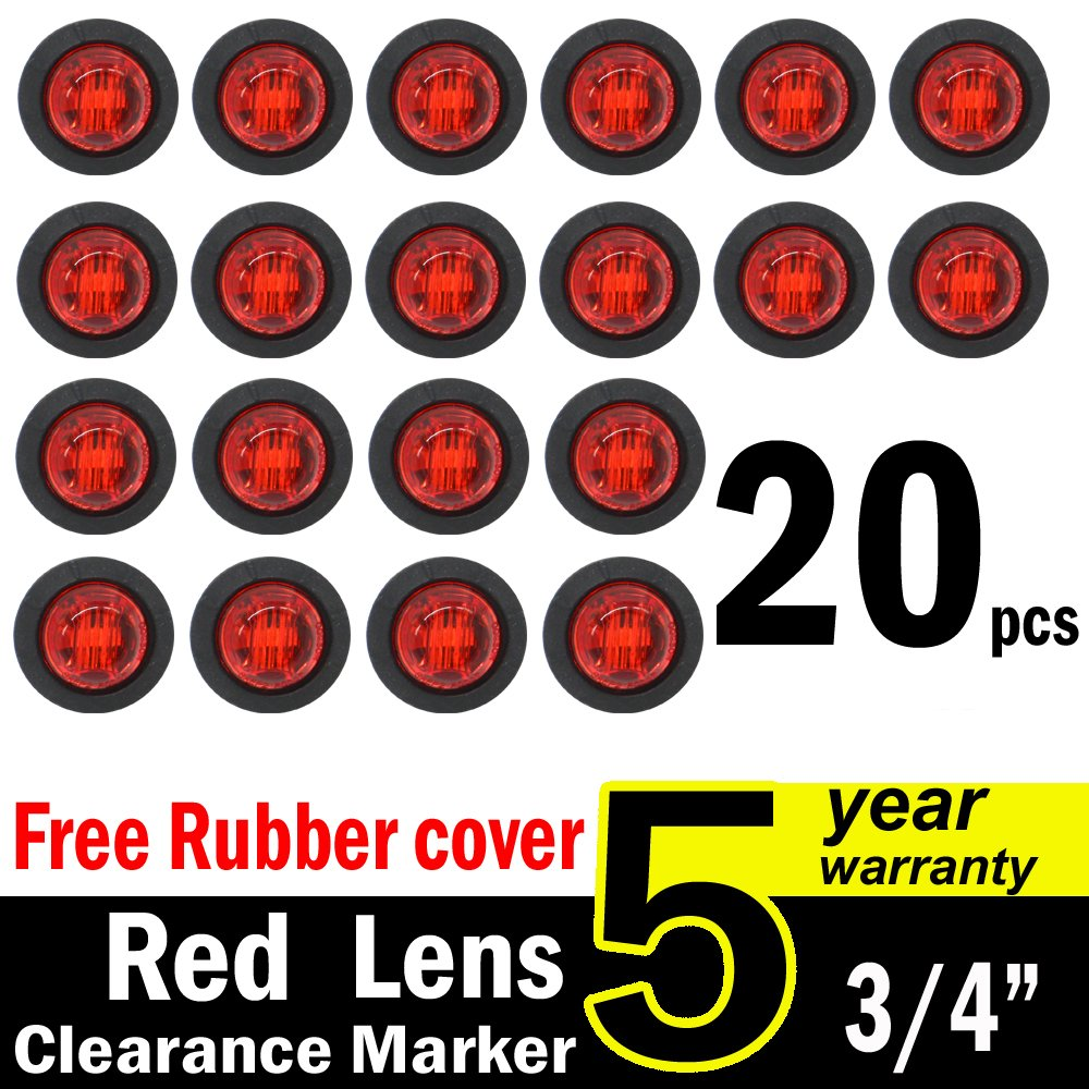 "( Pack of 20 ) TMH 3/4"" Inch Mount RED LED Clearance Bullet Marker lights, Side LED marker lights for trailer Truck RV Car Bus Van US-Red"
