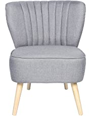 Panana Occasional Accent Chair With Natural Legs Fluted Back Living Room Chair Grey
