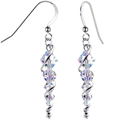 plated product swarovski dangle inspire earrings aurora with crystals jusly silver handcrafted