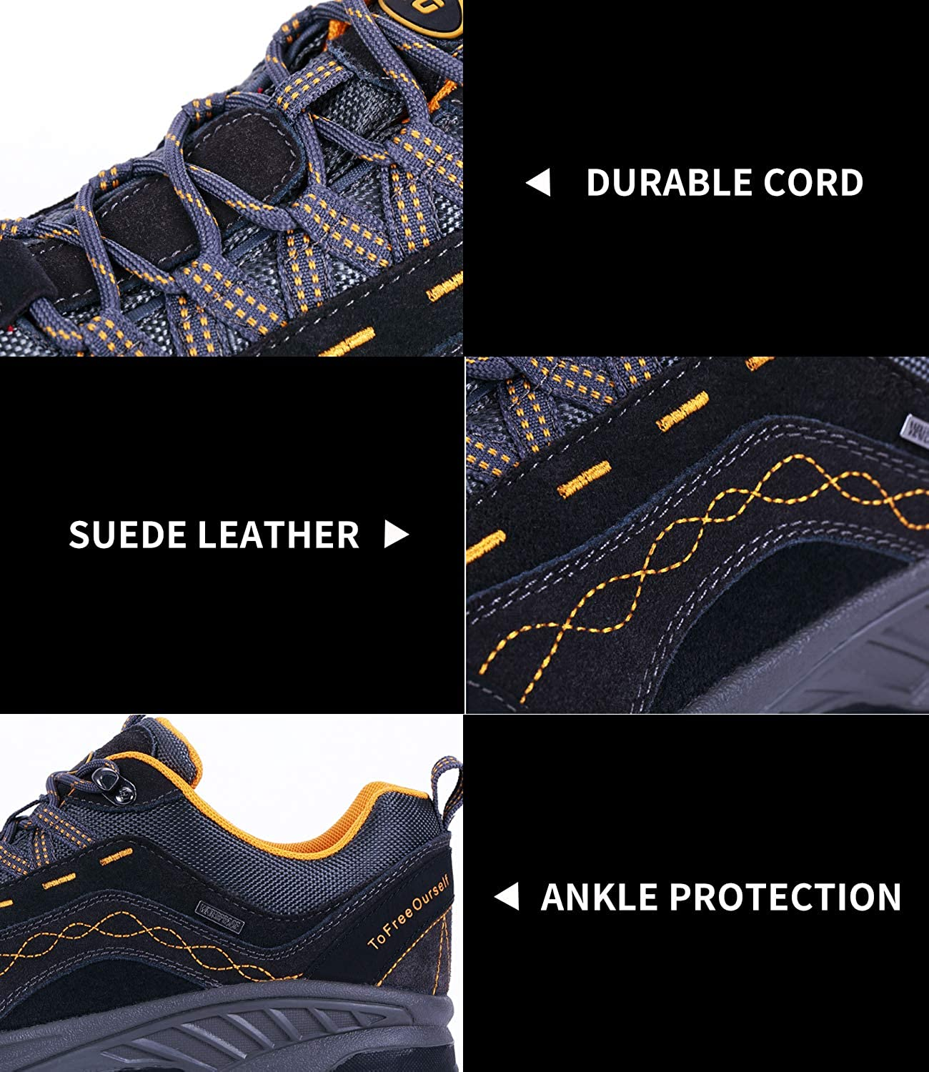 TFO Mens Hiking Shoes Anti-Slip Breathable Sneaker Low Cut for Outdoor Trekking Walking