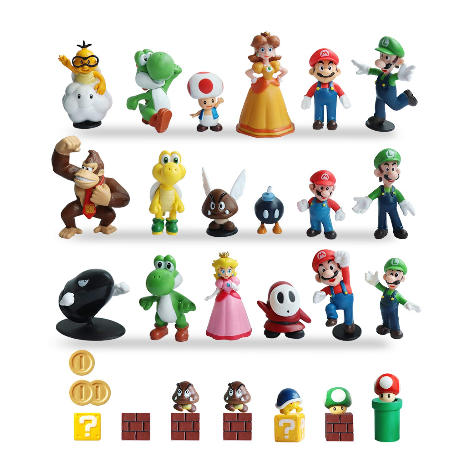 HXDZFX 32 PCS Super Mario Action Figures,Super Mario Bros Figurines Peach Princess,Daisy Princess,Turtle,Mushroom,Orangutan,Coin,Brick,Perfect for Onaments Decoration collectionism by HXDZFX