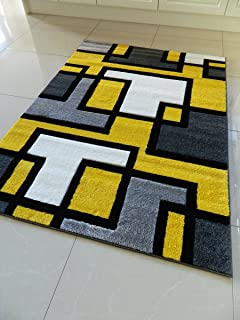 YELLOW BLACK SILVER GREY OFF WHITE SMALL MEDIUM XX LARGE RUG NEW MODERN SOFT THICK CARVED