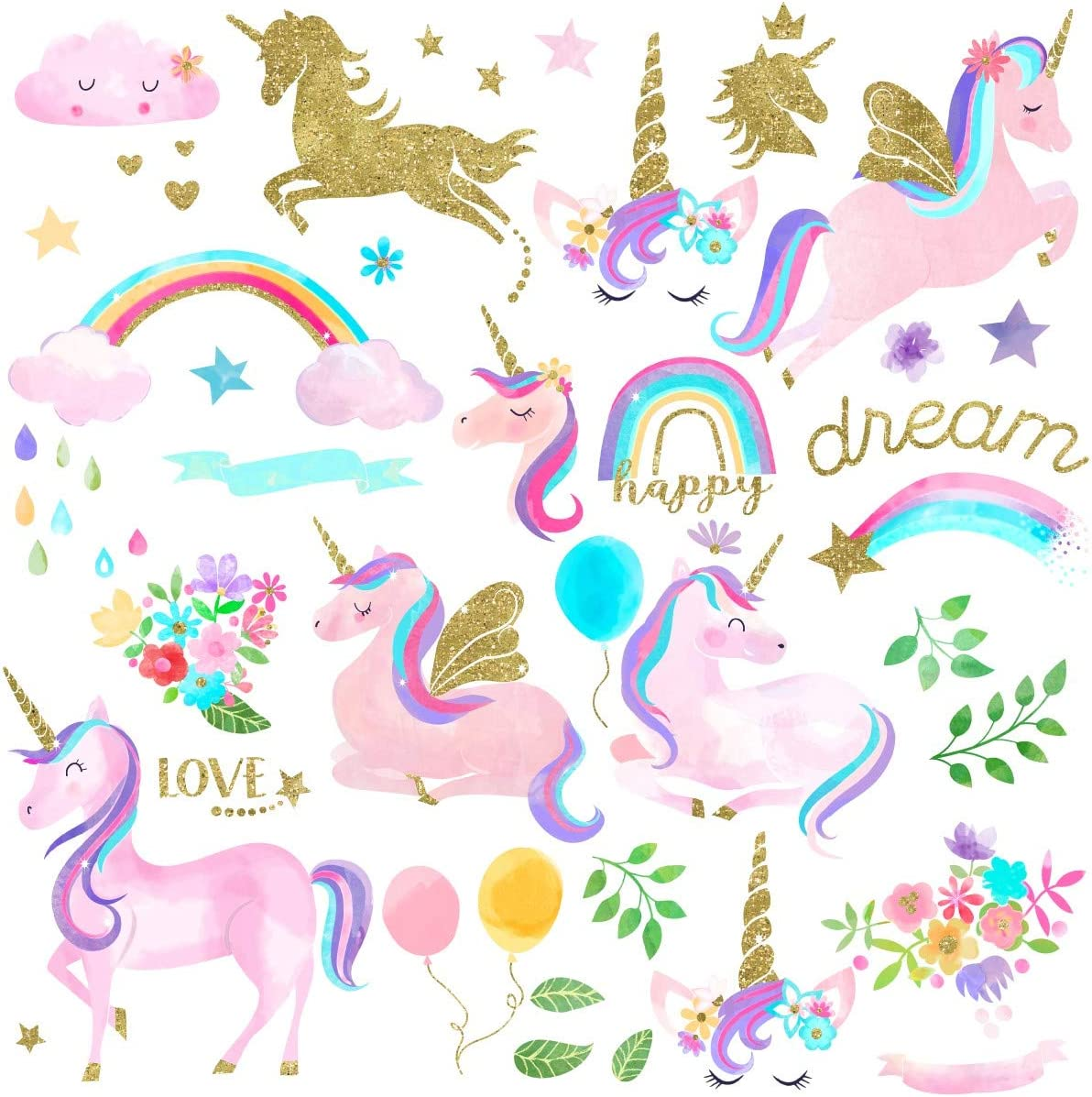 Watercolor Magical Unicorn Peel and Stick Wall Art Sticker Decals for Girls Room Nursery Parties