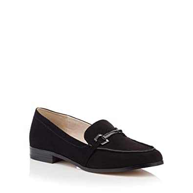 15841423f253c Debenhams Faith Womens Black Suedette Metallic Bar 'Woodsen' Wide Fit  Loafers 3