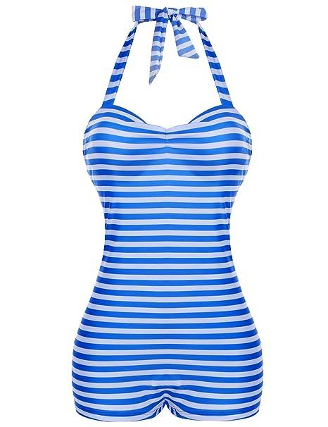 b159d6de9f8505 Avidlove Womens Retro Boy-Leg Ruched Halter Swimsuits Sexy Monokins One  Piece Navy Stripes Swimwear