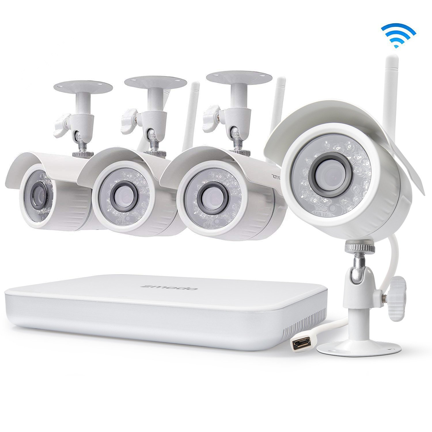 Zmodo 8CH Wireless Security Camera System - 1080P HDMI NVR No Hard Drive, 4 x 720P HD Indoor/Outdoor Wireless Cameras Night Vision - WiFi Easy Installation No Video Cables Needed