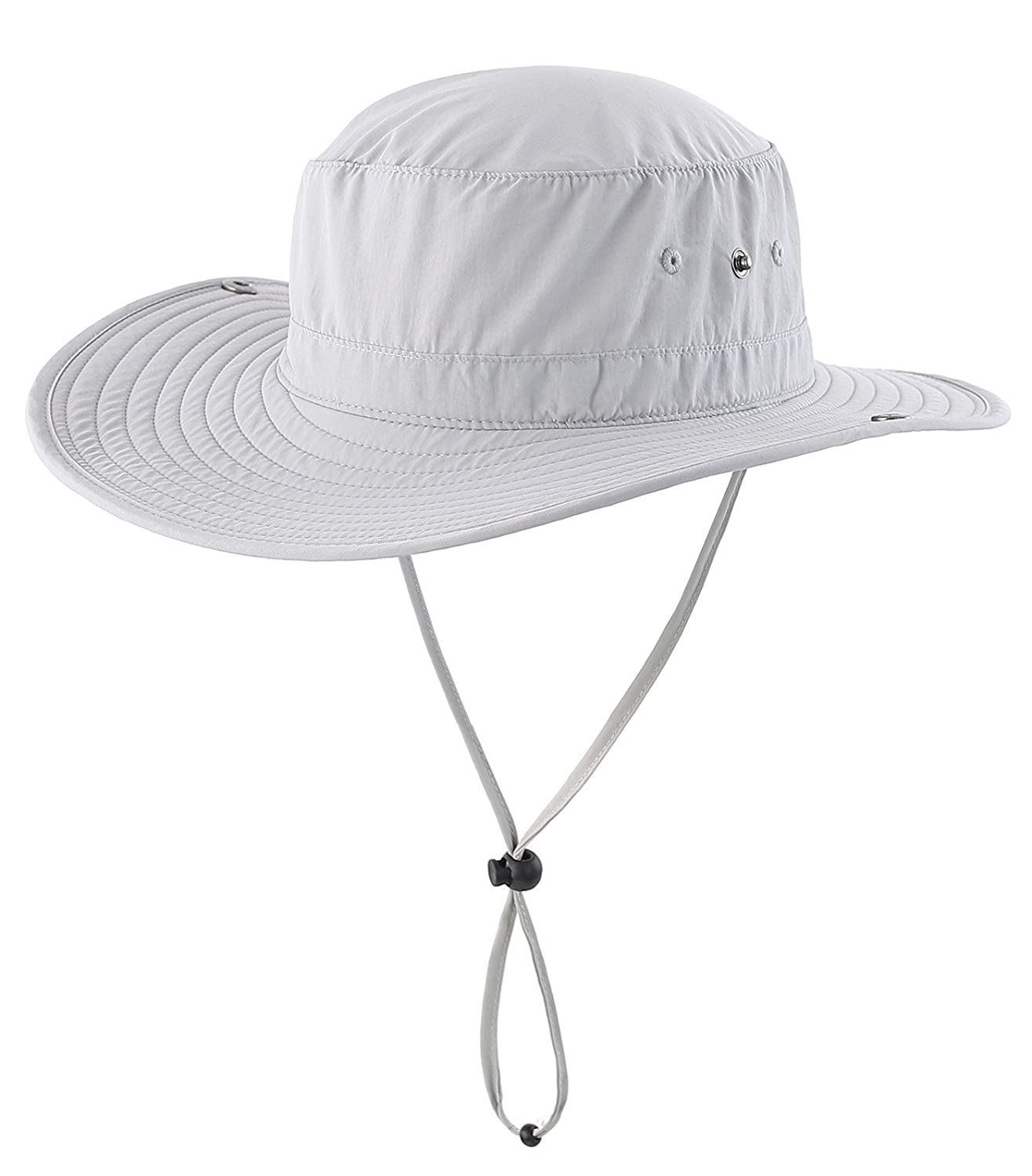 Decentron Mens Outdoor Cowboy Sun Hat Wide Brim Bucket Fishing Hats Summer String Hat