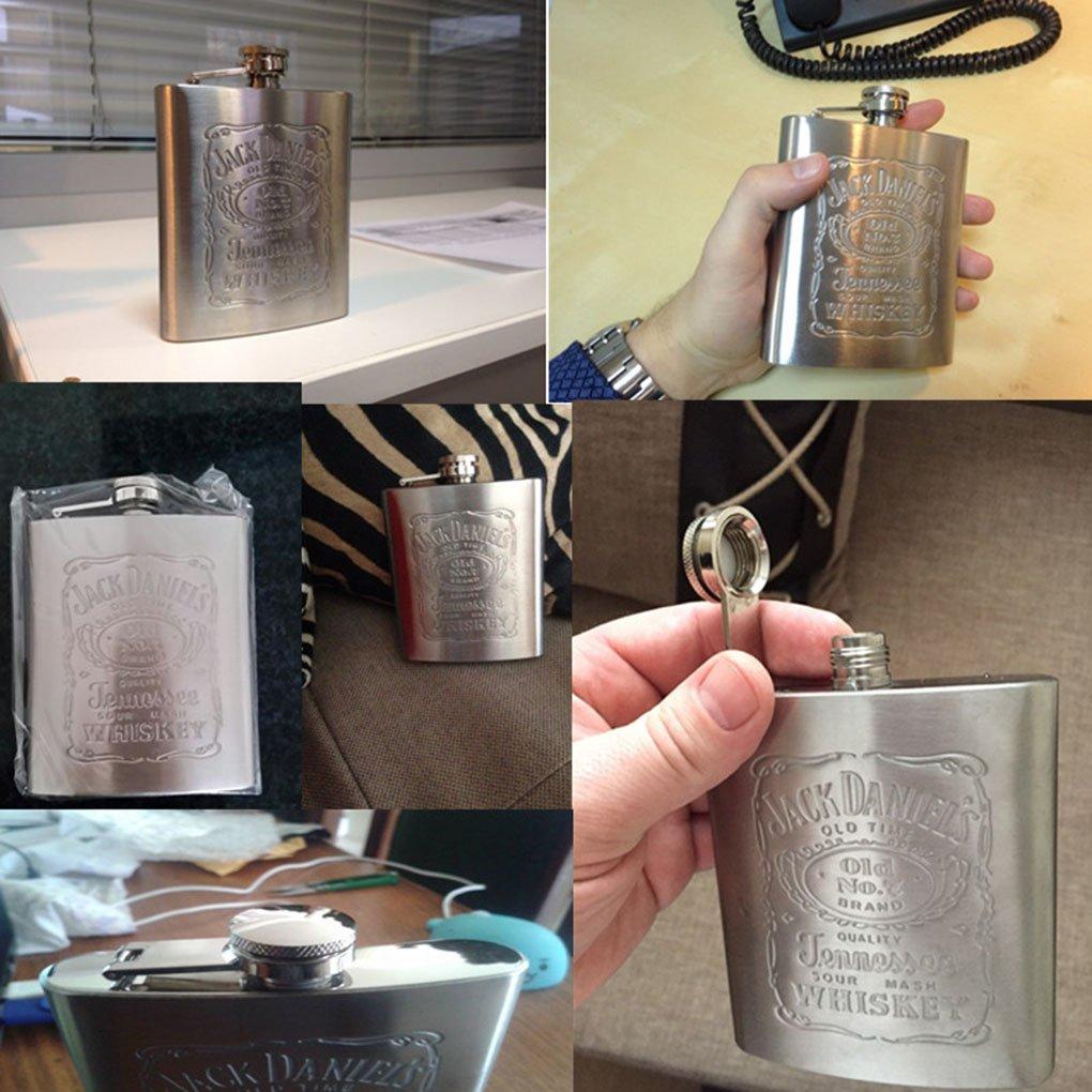 Deinbe Portatile dellanca dellAcciaio Inossidabile di Stampa Flask Male Piccolo Mini Bottiglia dAcqua Liquor Viaggi Contenitore Hip Flask Argento