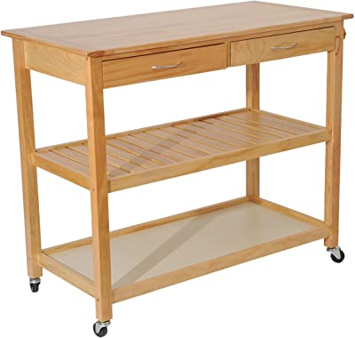 Globe House Products GHP Pine Wood Rolling Kitchen Trolley Utility Cart with 2 Drawers & Floor Shelves