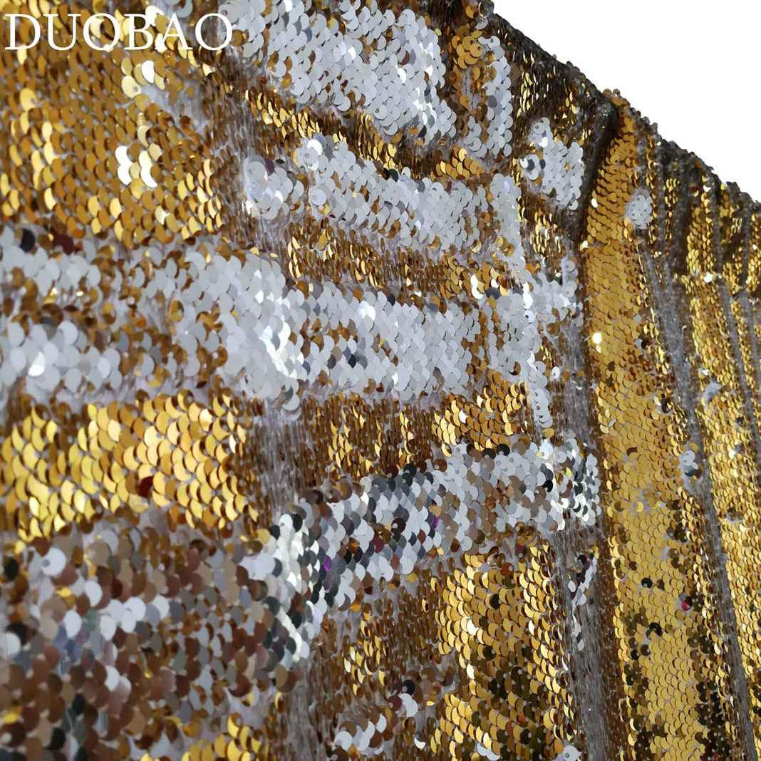 DUOBAO Sequin Backdrop 8Ft Gold to Silver Glitter Backdrop Curtain Reversible 4FTx8FT Mermaid Sequin Curtains Sparkly Backdrop Panels