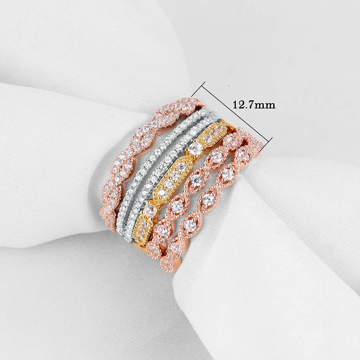 Newshe 5pcs Stackable Wedding Bands Set Eternity Ring 925 Sterling Silver Cz White Yellow Rose Size 5-10