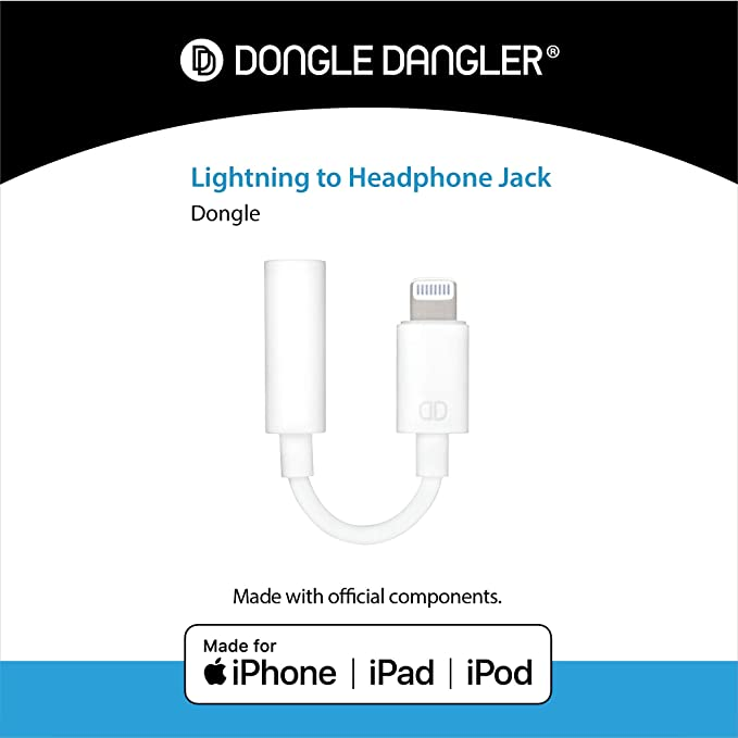 Dongle Dangler 3 5mm Headphone Jack Adapter + Dongle Holder Keychain –  Compatible with iPhone 7/7 Plus/8/8 Plus/X/XR/XS/XS Max  (Keychain + Cable  -