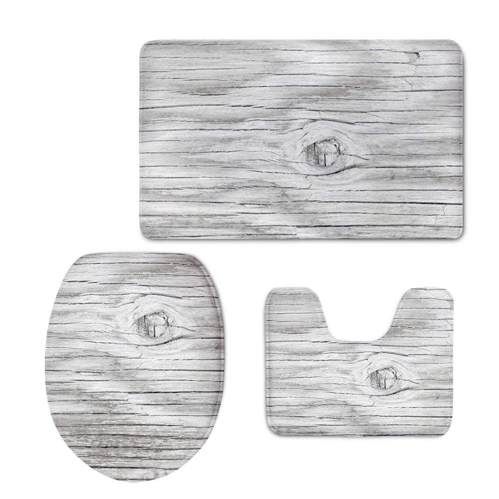 CHAQLIN Bath Mat,Wood,Rustic Old Barn Wood Bathroom Carpet Rug,Non-Slip Back 3 Piece Bathroom Mat Set