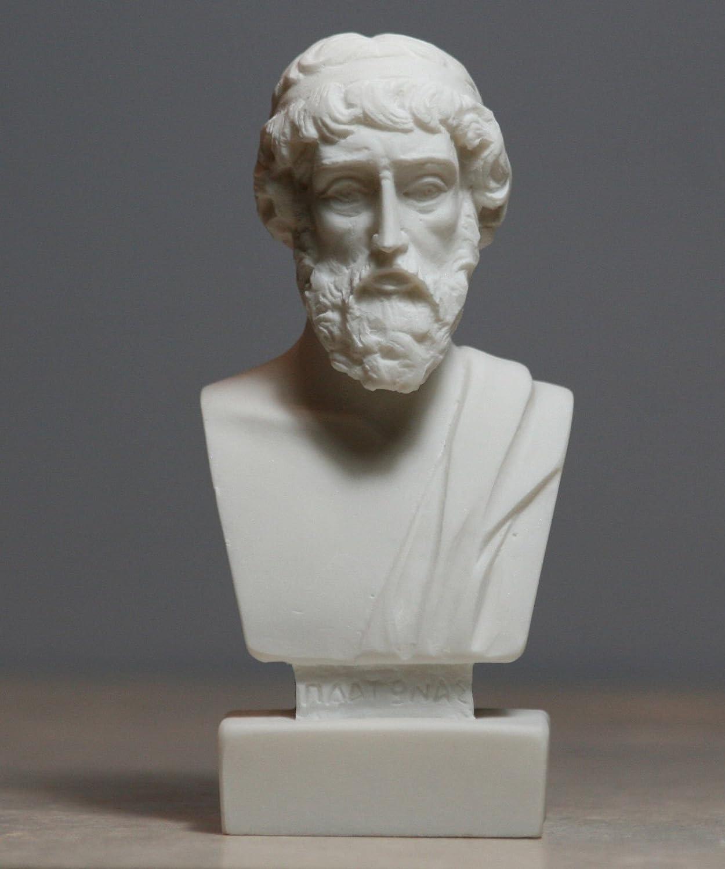 Greek Philosopher Plato Alabaster Bust Head Statue Sculpture Décor 4.72΄΄