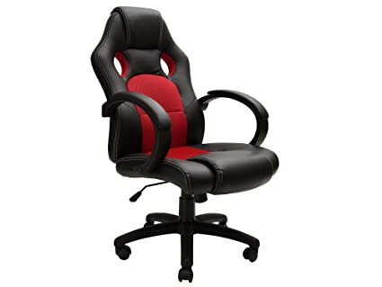 TMS High Back Race Car Style Bucket Seat Office Chair Swivel Desk Computer Red