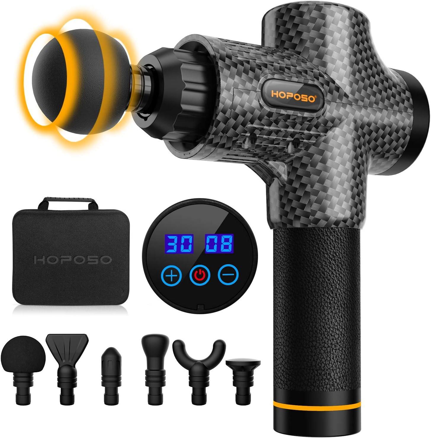 Pistola de masaje eléctrica con 30 velocidades, 6 cabezales de masaje, pantalla LCD táctil, pistola de masaje (Negro carbón)