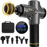 Pistola de masaje eléctrica con 30 velocidades, 6 cabezales de masaje, pantalla LCD táctil, pistola de masaje (Negro…