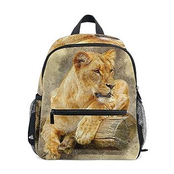 FANTAZIO Mochila Escolar Elemental Africa Tiger Lay On Wood Bookbag: Amazon.es: Electrónica