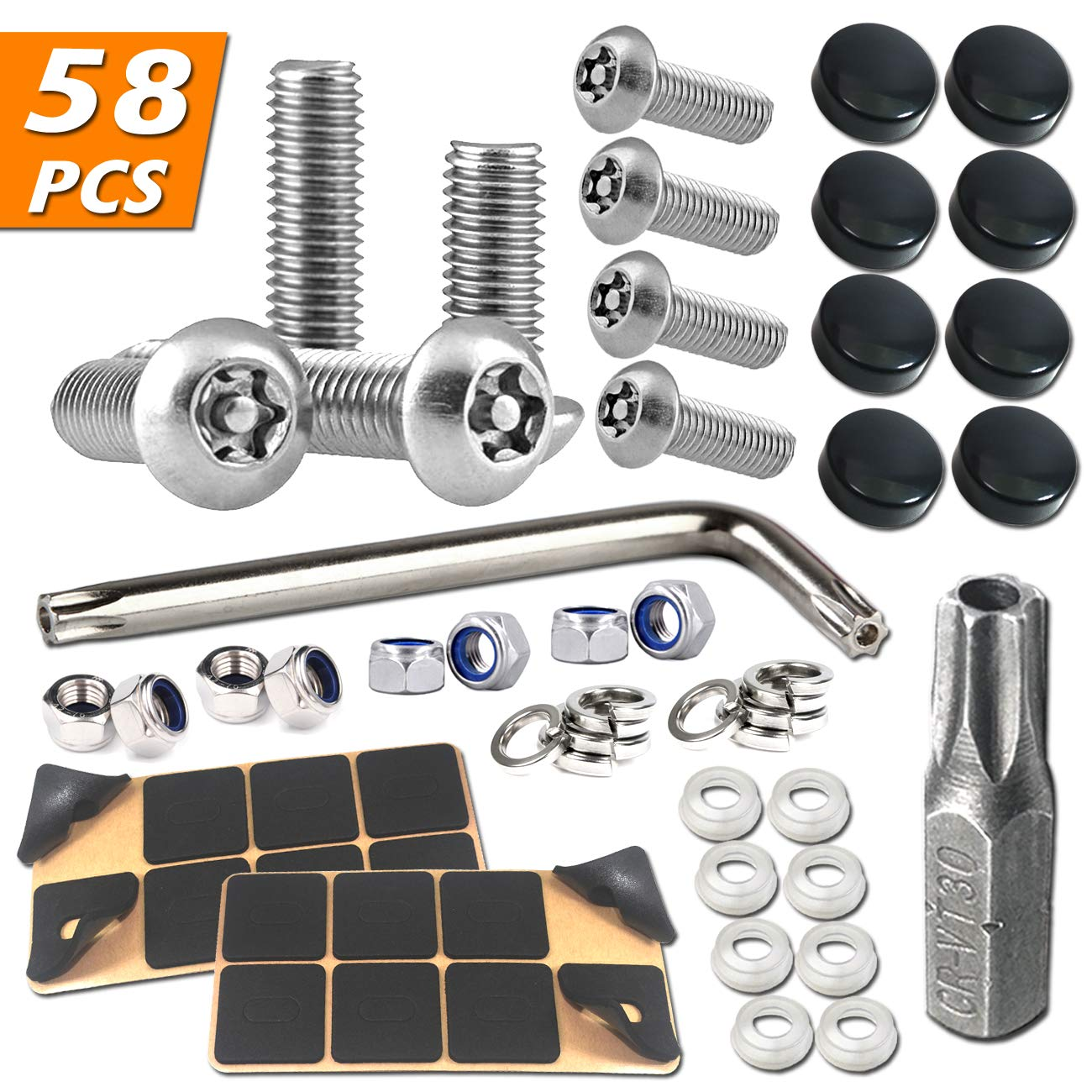 STAINLESS STEEL LICENSE PLATE FASTENERS FRAME//COVER METAL SCREW//BOLT CHROME CAPS