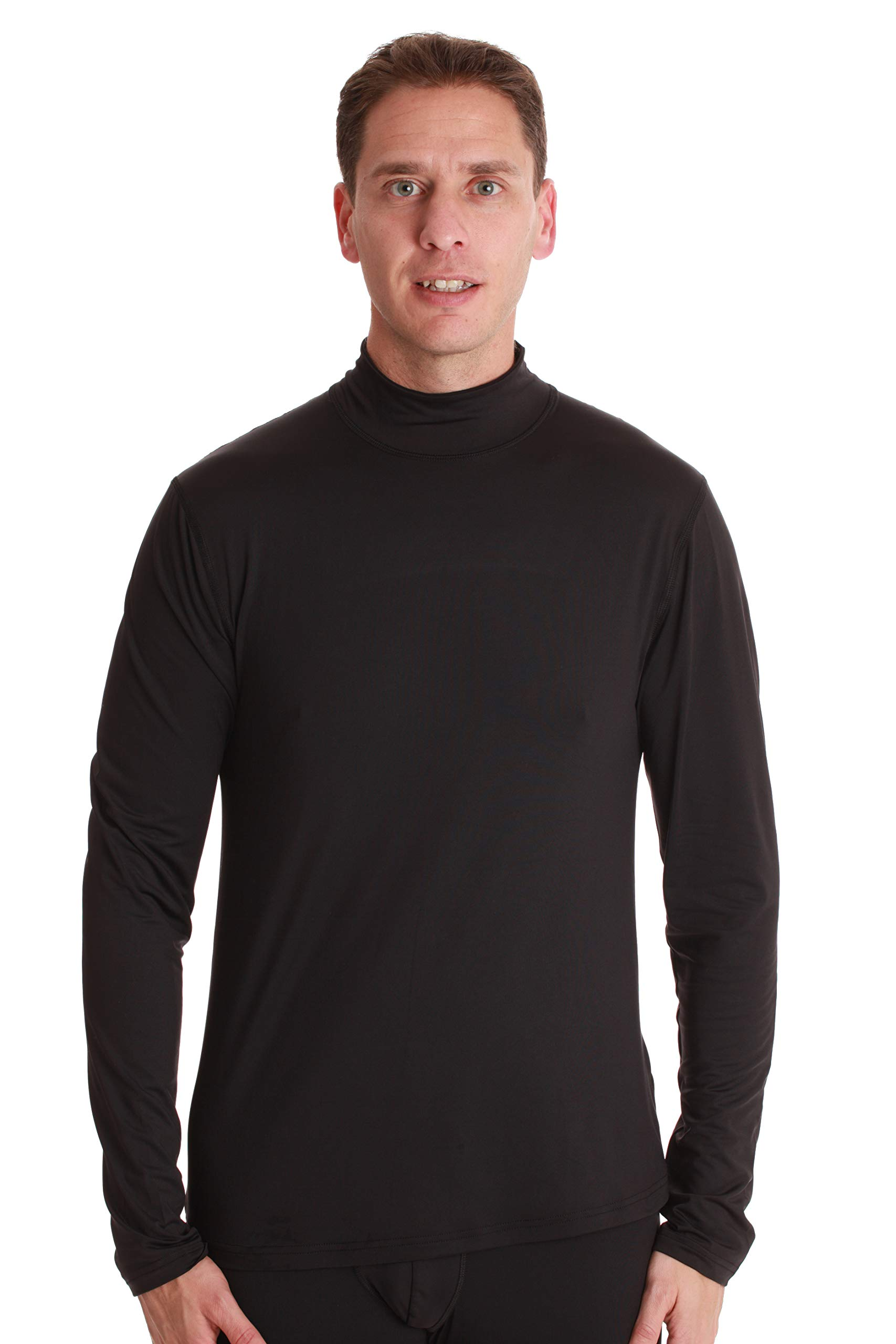 At The Buzzer Mens Performance Thermal Long Sleeve Mock Neck Top 55941-BLK-M Black by At The Buzzer