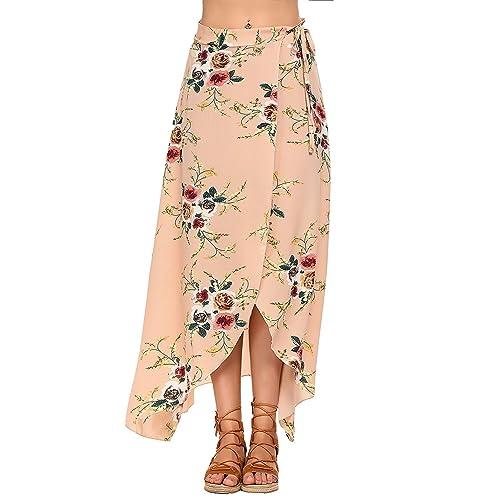 Moda Falda Larga Estampada Flor Maxi Boho Verano para Mujer Vestido Pareo Playa Bikini Cover Up