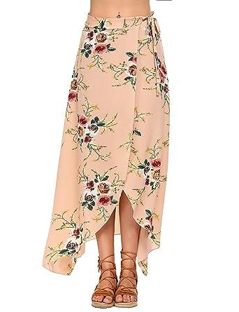 Moda Falda Larga Estampada Flor Maxi Boho Verano para Mujer ...