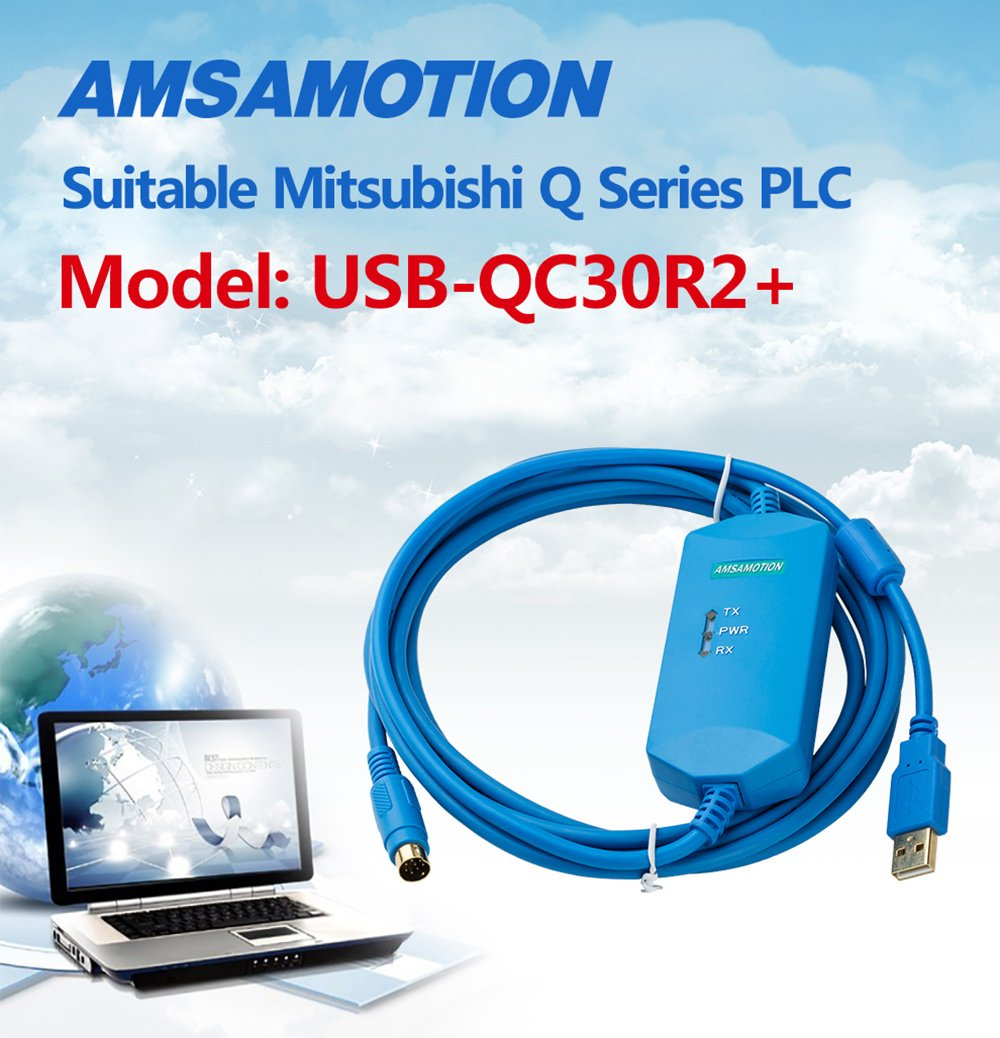Amsamotion Usb Qc30r2 Optical Isolation Communication Mitsubishi Cable Suitable Q Series Plc Programming Computers Accessories