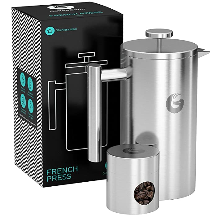 Large French Press Coffee Maker – Vacuum Insulated Stainless Steel, Silver, 34floz