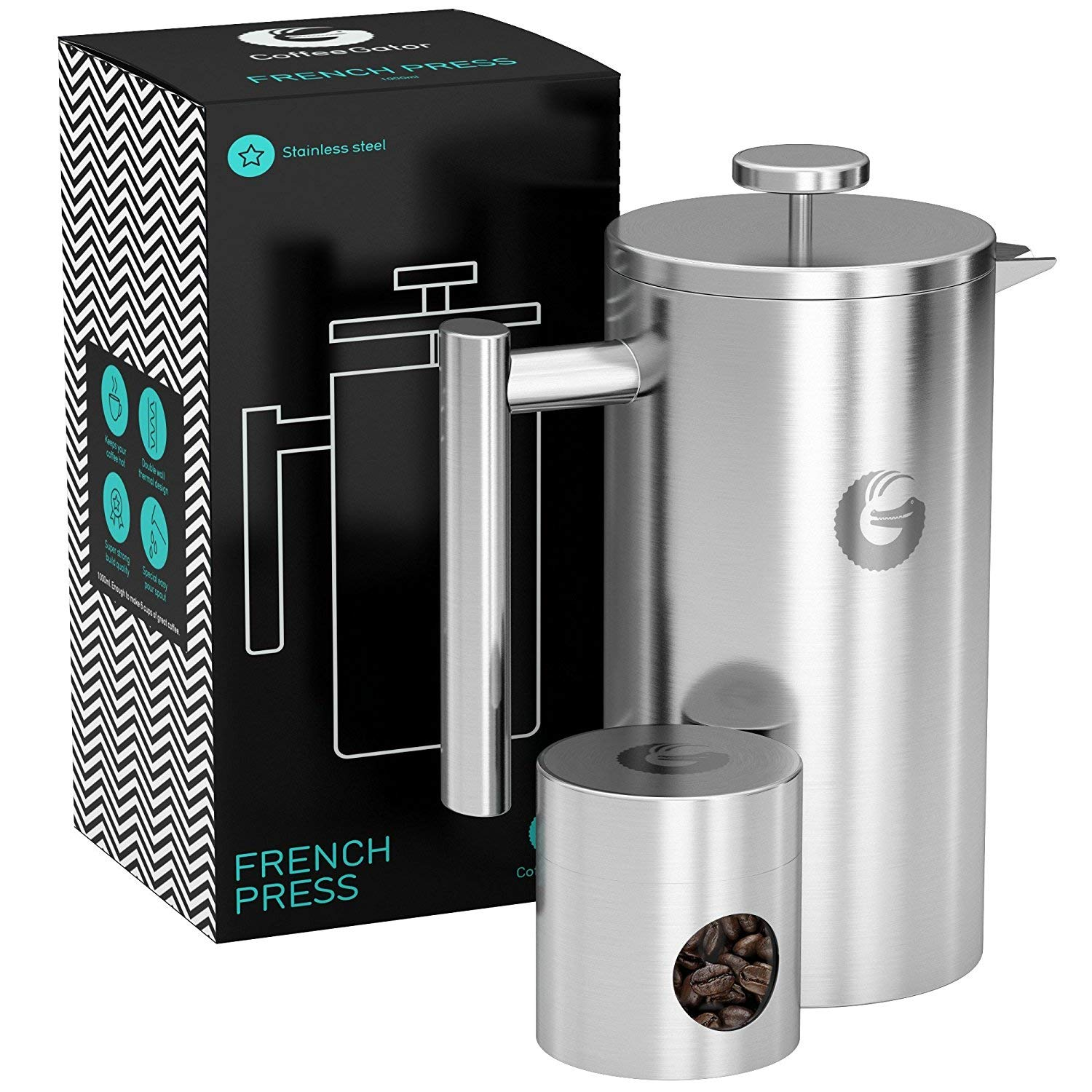 Large French Press Coffee Maker – Vacuum Insulated Stainless Steel, Silver, 34floz product image