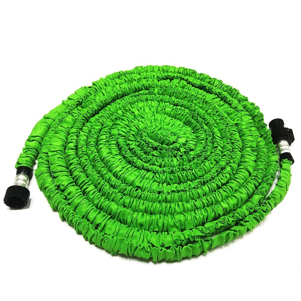 GenLed Expandable Garden Hose, 25ft Strongest Expanding Garden Hose on the Market with Triple Layer Latex Core & Latest Improved Extra Strength Fabric Protection for All Your Watering Needs(Green)